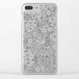 Clockwork B&W / Cogs and clockwork parts lineart pattern Clear iPhone Case
