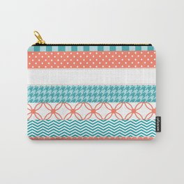 Girly Coral and Teal Washi Tape Pattern Carry-All Pouch