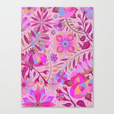 Bright Pink Floral Canvas Print