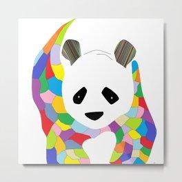 Patchwork Panda Metal Print