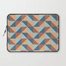 Modern Blue and Orange Geometric Triangle Pattern Laptop Sleeve