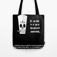 grim fandango Tote Bags featuring Grim Fandango - Manny Calavera by bosphorus