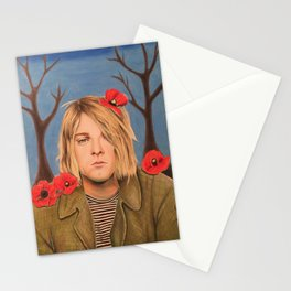 Kurt C Poppy Flower Drawing Colored Pencil Nirvana Heart shaped box Stationery Cards