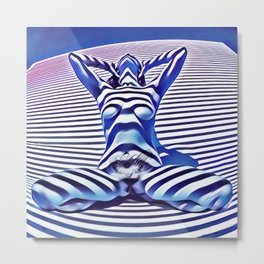 9665s-KMA_5201 Powerful Blue Woman Open Free Striped Sensual Sexy Abstract Nude Metal Print