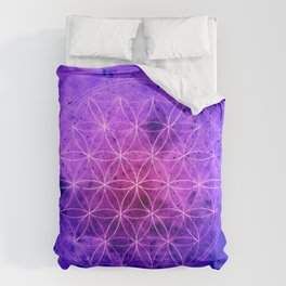 Flower of life Purple and Blue Comforters