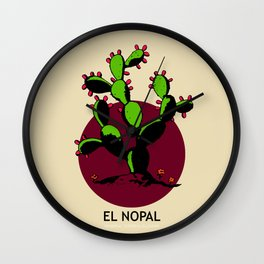 El Nopal Mexican Loteria Card Wall Clock