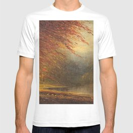 Autumn Leaves on the River Bank landscape painting by H. Joiner T-shirt
