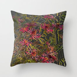 Zinnia Pink Abstract by CheyAnne Sexton Throw Pillow