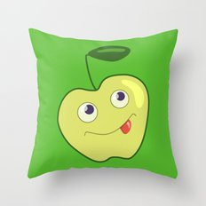 Cute Smliing Green Cartoon Apple Throw Pillow