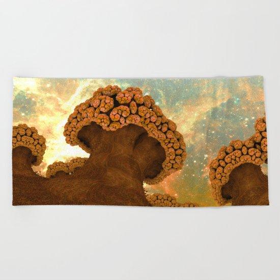 Broccoli Planet in Fall Beach Towel
