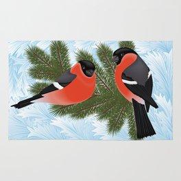 Bullfinch birds on fir tree branches Rug