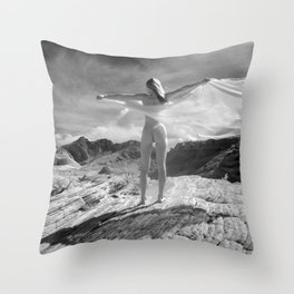 2254 B&W Nude Woman Naked Desert Feminine Nature Classic Female Form Beautiful  Throw Pillow