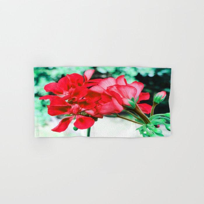 Red FlowERS Green Bokeh Hand & Bath Towel