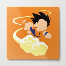 Sangoku, Krilin & the Flying Nimbus Metal Print