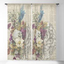 medical floral brain Sheer Curtain