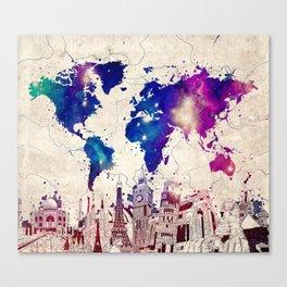 world map city skyline galaxy 2 Canvas Print
