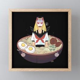 Anime School Girl Japanese Fox Kitsune Mask And Ramen Noodles Framed Mini Art Print