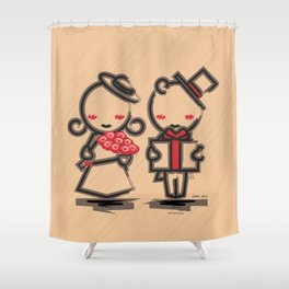 Lovely Couple in 4 Colours Shower Curtain
