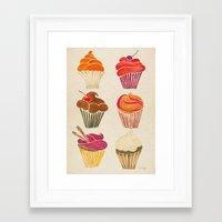 cupcakes Framed Art Prints featuring Cupcakes by Cat Coquillette