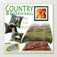 bedding Canvas Prints featuring Country Bedding Set from Vermont Greetings  by Vermont Greetings