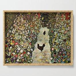 """Gustav Klimt """"Garden Path with Chickens"""" Serving Tray"""