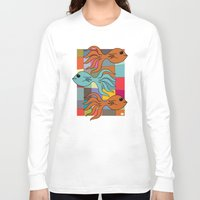 mid century modern Long Sleeve T-shirts featuring One Fish, Two Fish, Orange Fish, Blue Fish - on Mid Century Modern Background by Taken Literally