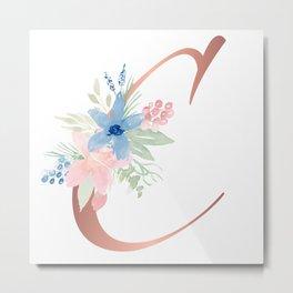 Monogram Copper Floral Letter C Metal Print