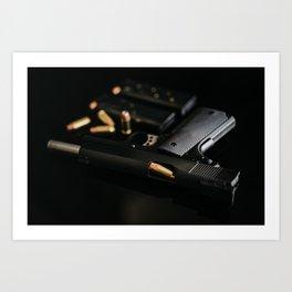 1911 Handgun with Bullets and Magazines Art Print