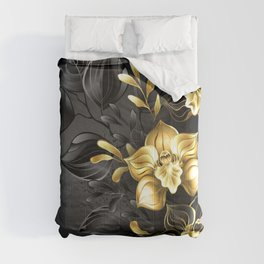 Black Background with Black Orchid Comforters
