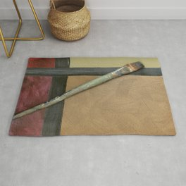 Artist Brush On Abstract Copper Canvas Artwork - Vintage - Modern Art - Corbin Henry Rug