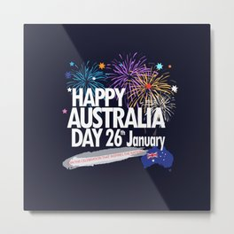 Happy Australia Day 26th January inscription poster with Australian Flag, Australia Map, stars and fireworks. Funny Australia, Patriotic National Holiday Festive Poster for gifts and clothing design. Festival Event decoration. T-Shirt Metal Print