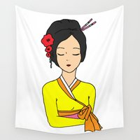 korean Wall Tapestries featuring Korean Maiden by RaJess