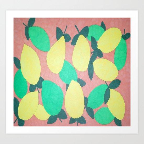 Lemony Fresh Citrus Pattern Art Print
