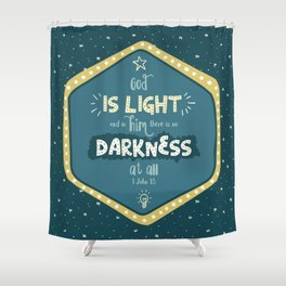 """God is Light"" Hand-Lettered Bible Verse Shower Curtain"