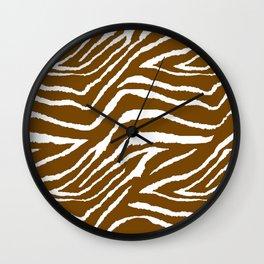 Zebra Brown and White Wall Clock