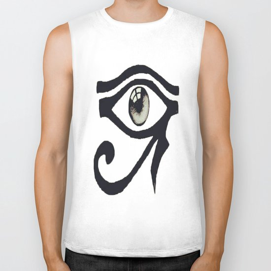 Chinese Alphabet Eye Biker Tank