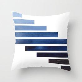 Navy Purple Blue Midcentury Modern Minimalist Staggered Stripes Rectangle Geometric Aztec Pattern Wa Throw Pillow