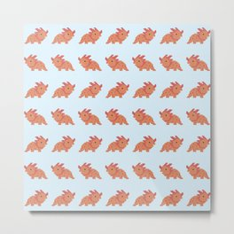 Pixel Dino Pattern Metal Print
