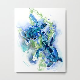 Sea Turtle Turquoise Blue Beach Underwater Scene Green Blue design Metal Print
