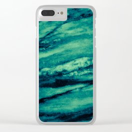 Turquoise marble Clear iPhone Case
