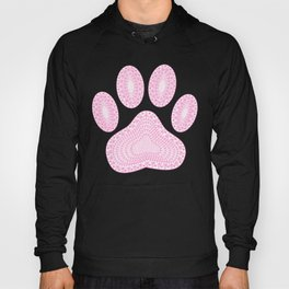 Abstract Pink Ink Dog Paw Print Hoody