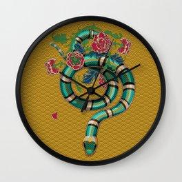 Snake Peonies Wall Clock