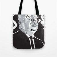 hitchcock Tote Bags featuring Hitchcock by Matt Fontaine