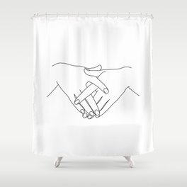 Hands line drawing - Janis Shower Curtain