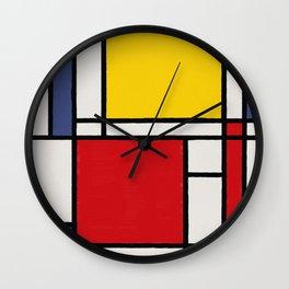 Abstract Mondrian Style Art Wall Clock