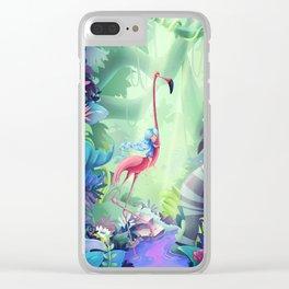 Girl & Flamingo Clear iPhone Case