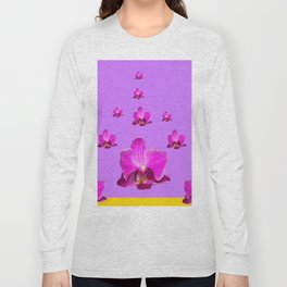 PURPLE ORCHID FLOWERS RAIN YELLOW ART Long Sleeve T-shirt