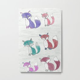 Funky Foxes Metal Print