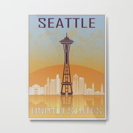Seattle Vintage Poster Metal Print