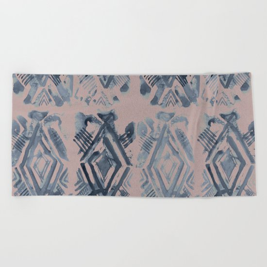Simply Ikat Ink in Indigo Blue on Clay Pink Beach Towel